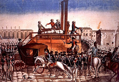Execution of King Louis XVI in Paris in on January 21, 1793