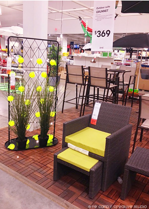 IKEA outdoor ideas, outdoor furniture, patio lights, potted plants, outdoor seating