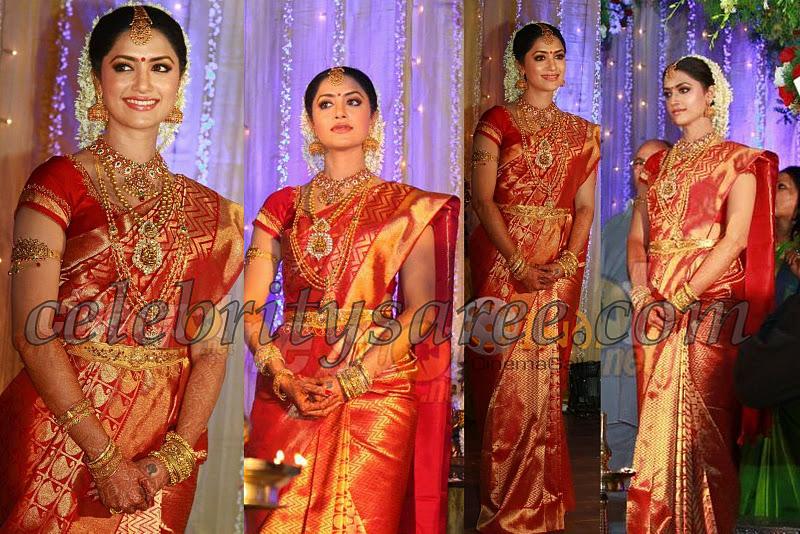 Mamata Mohandas In Red Kancheepuram Wedding Sari