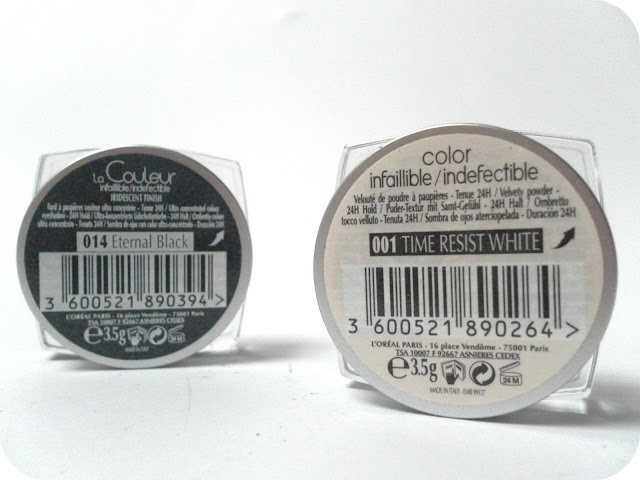 A picture of L'Oreal Infallible Eyeshadows in 14 Eternal Black and 001 Time Resist White