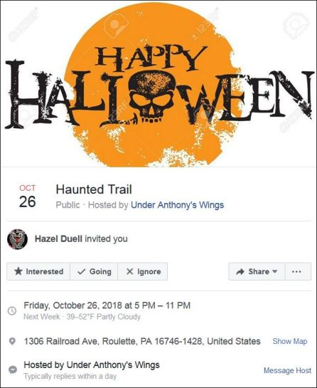 10-26 Haunted Trail hosted by Under Anthony's Wings