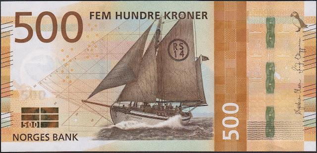 Norwegian Currency 500 Krone banknote 2018 Rescue Vessel RS 14 Stavanger