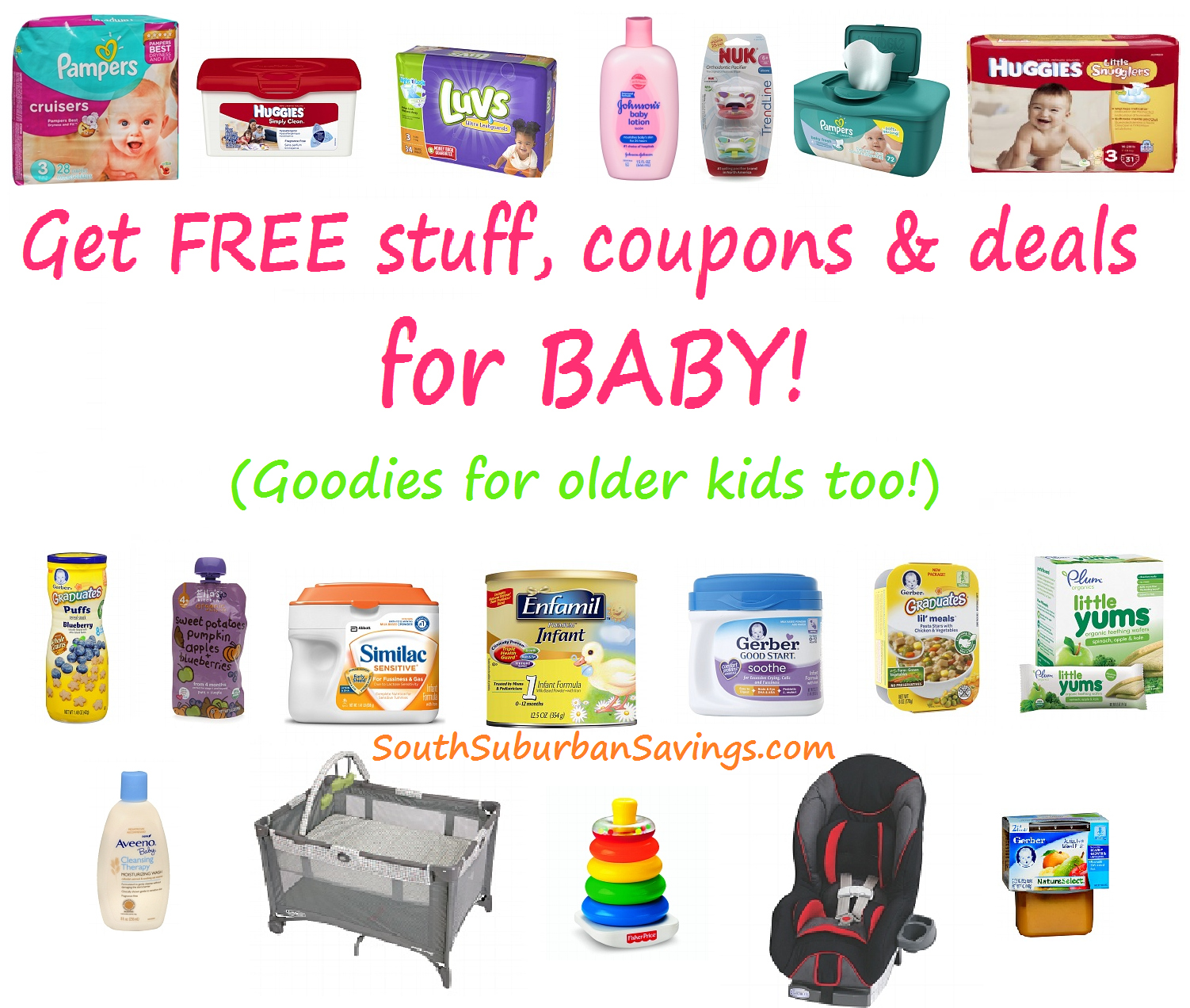 Get FREEBIES, HOT Deals, and Coupons for Babies & Older Kids!! (Save on Gerber, Huggies, Pampers, Enfamil, Fisher Price & MORE!)