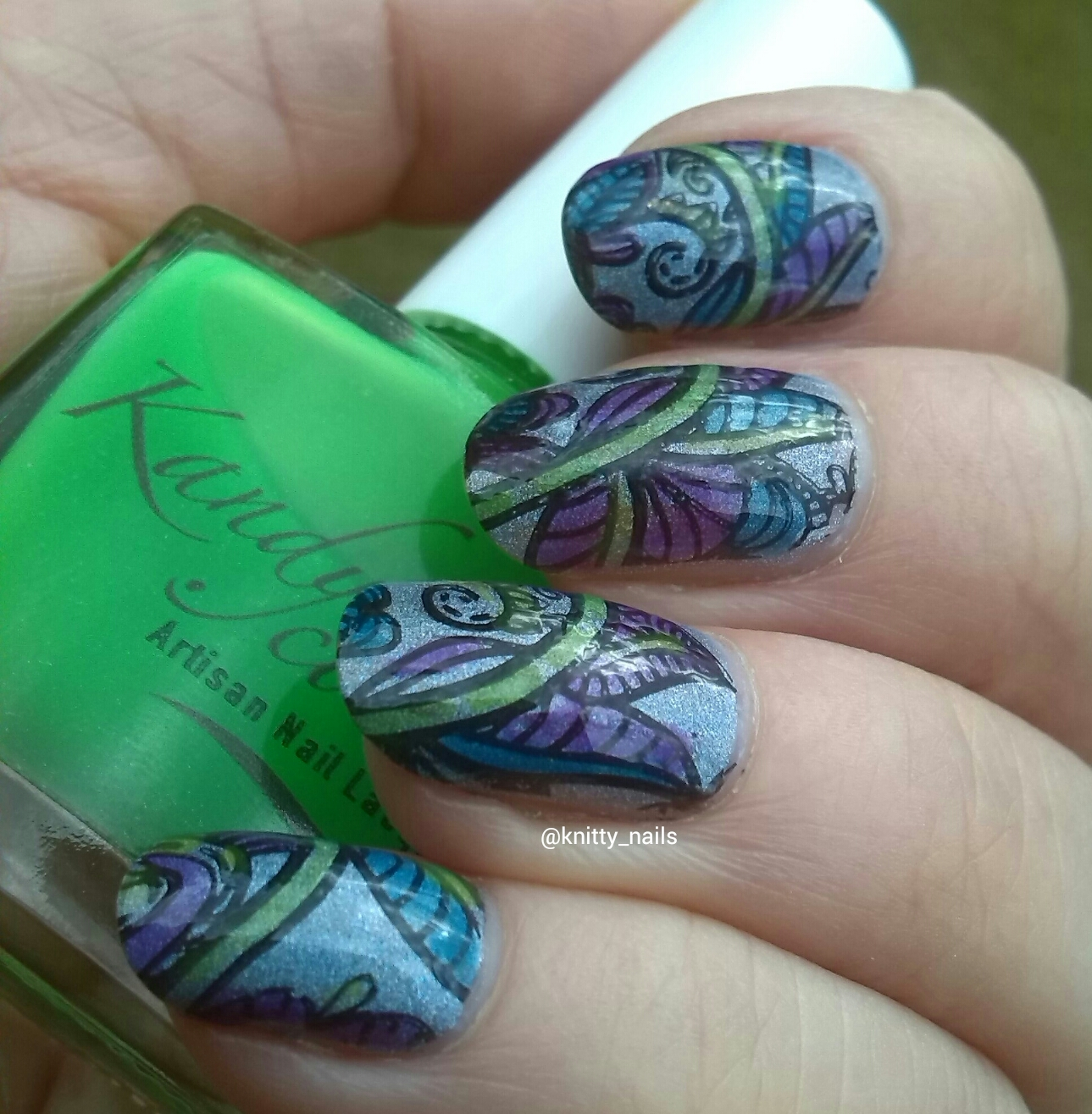 Knitty Nails: July Challenges - Holo / Leadlighting