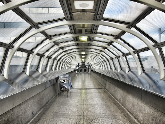 Pedestrian walkway to Yorkdale mall from the subway station.