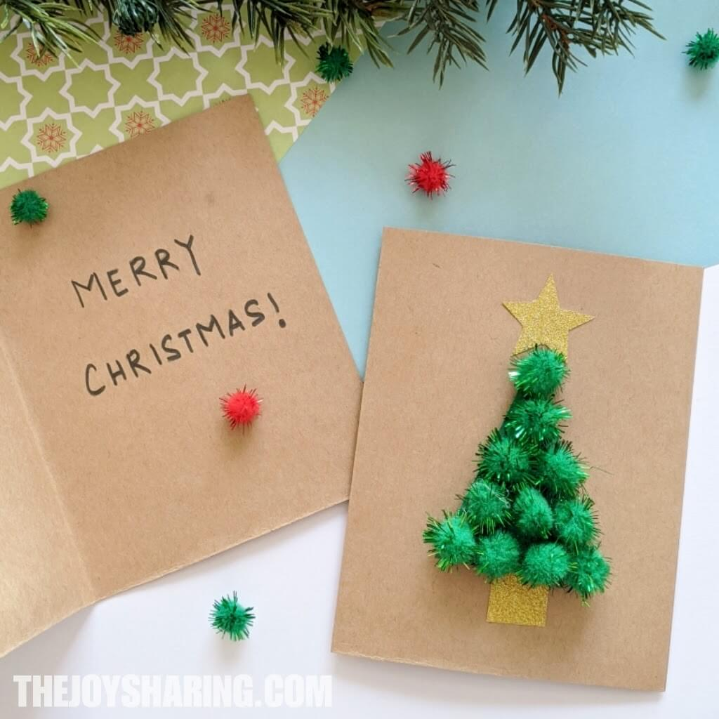 Pom Pom Tree Christmas Card The Joy Of Sharing