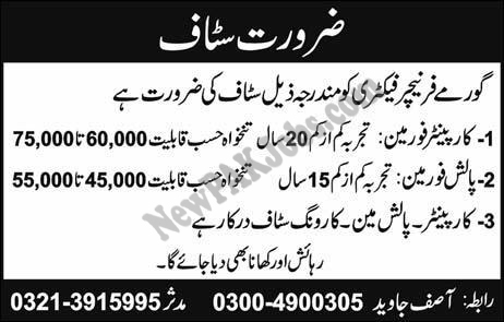 Jobs in Gourmet Furniture Factory for Carpenter, Polish Forman, Other 20 February 2018