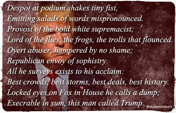 image of Donald Trump which I have distressed and to which I've added a sonnet, published in full below