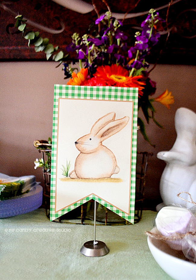 easter sign, easter bunny, illustration, bunny drawing, gingham