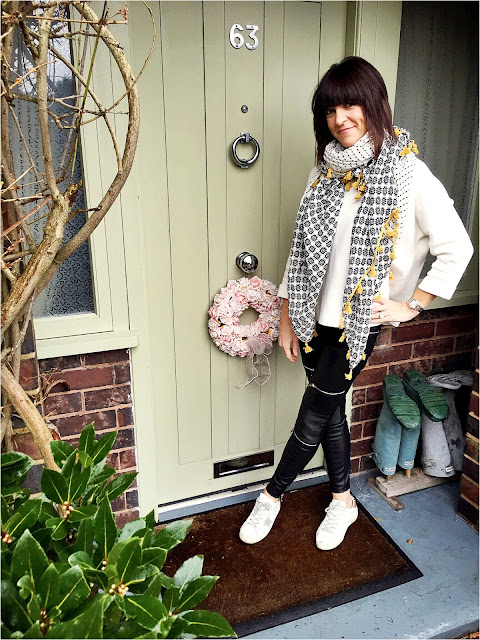 My Midlife Fashion, Tassel pom pom scarf, monochrome, zara faux leather trousers, golden goose trainers, massimo dutti jumper, my midlife fashion