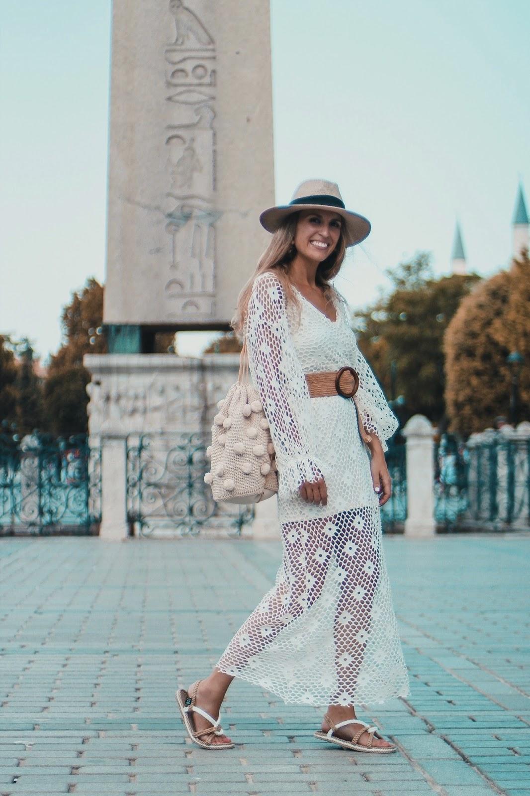 vestido crochet largo zara