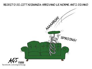 divano, reddito di cittadinanza, fannulloni, disoccupazione, satira, vignetta