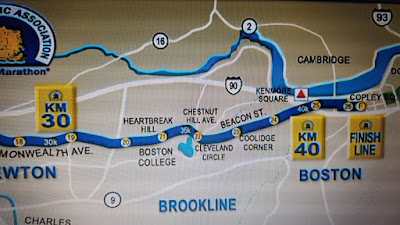Image of a map for the Heartbreak Hill segment of the Boston Marathon
