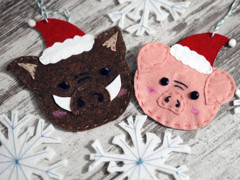 KuneCoco • Weihnachtliche Anhänger aus Filz • Schweine