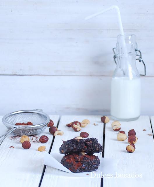 Galletas de Nutella y avellanas sin horno - Dulces bocados