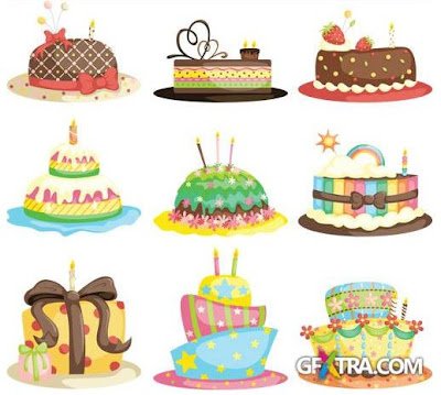 Vectores de tartas de cumpleaños