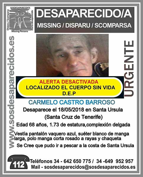 Carmelo Castro Barroso encontrado sin vida, Santa Úrsula, Tenerife