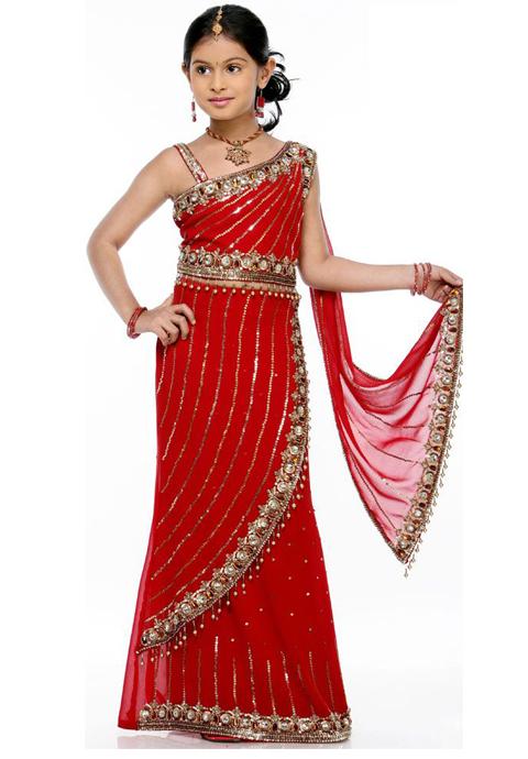 model baju sari india anak