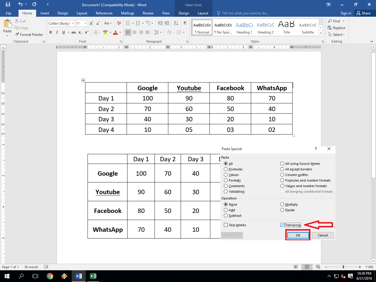 Ms word table how to convert row to column column to for Html table title