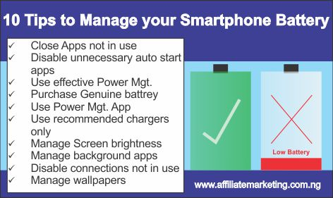 10 Tips for Smartphone Battery Mgt.