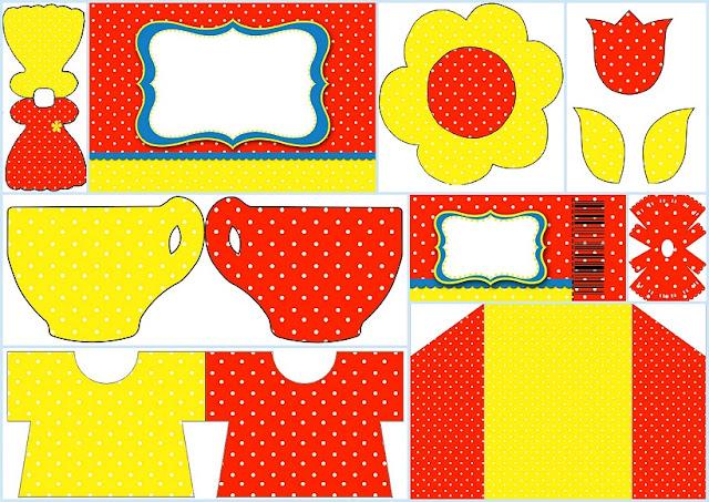 Rojo, Amarillo y Lunares Blancos: Invitaciones para Imprimir Gratis.