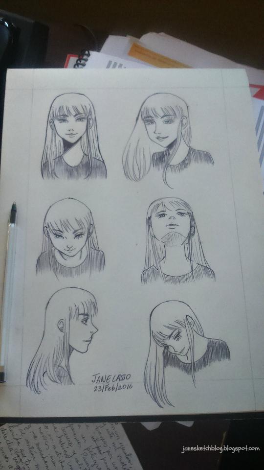 Dibujo con bolígrafo y lápiz , de los diferentes ángulos de la cara.