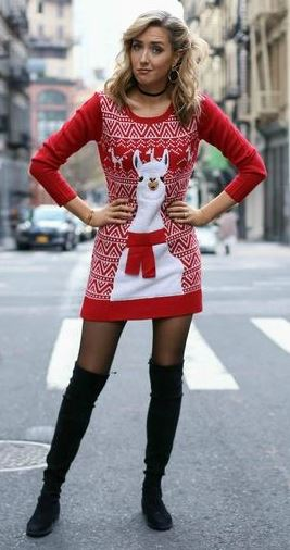 amazing christmas outfit idea : printed sweater dress _ over knee boots