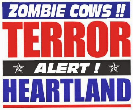 zombie cow alert warning sign