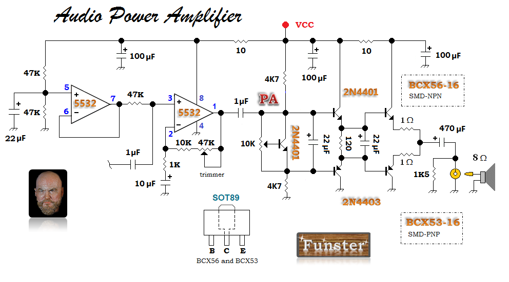 My first popcorn AF stage with a 5532 non-inverting amplifier