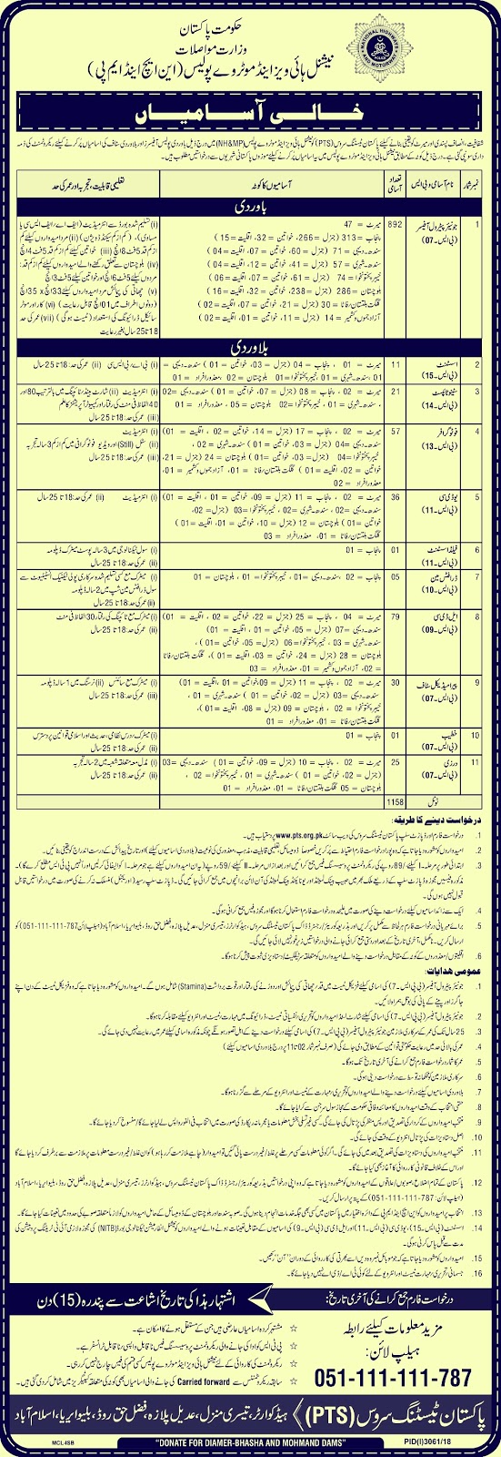 National Highways & Motorway Police (NHMP) Jobs 2019 | 1185 New Posts | Download Application Form
