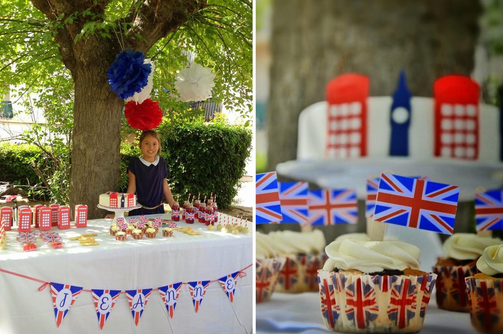 sweet table et petite fille cupcake avec drapeau londres