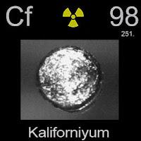 Kaliforniyum elementi üzerinde kaliforniyumun simgesi, atom numarası ve atom ağırlığı.