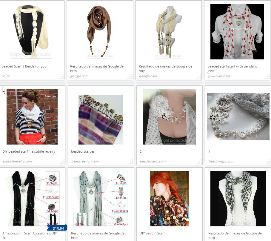 pañuelos, scarfs, abalorios, costura, bisutería, sewing