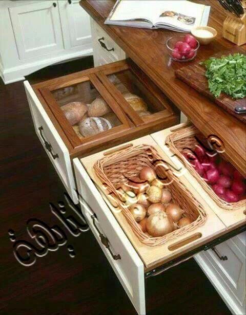 وضع البصل والثوم والبطاطس والخضروات داخل أدراج بالمطبخ بحيث تكون الأدراج مصممة بالطريقة الموجودة بالصورة حتى تسمح بدخول الهواء إليها وبالتالى الحفاظ على الخضروات من التلف