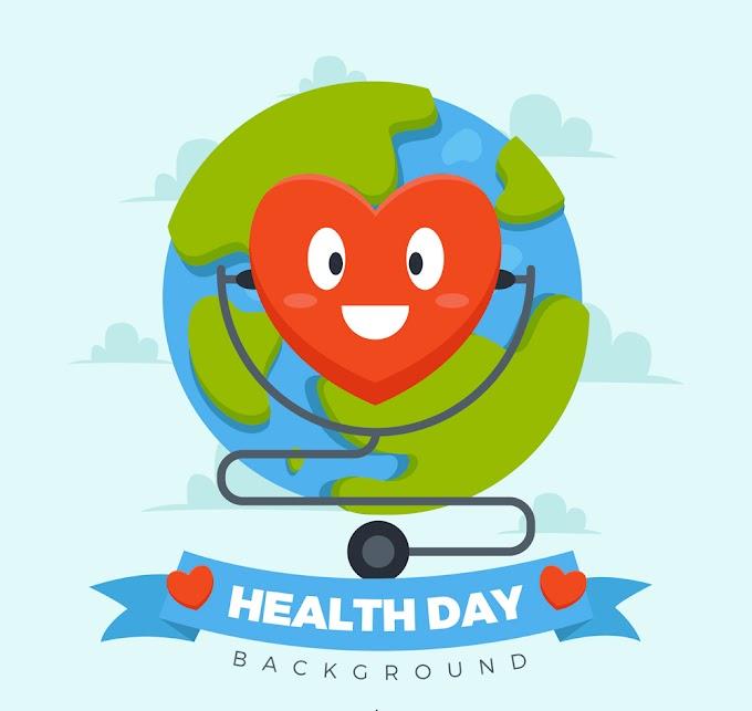 Creative world health day love heart stethoscope free vector illustration