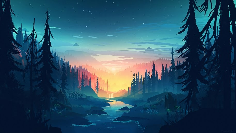 Nature Sunrise Digital Art River Landscape Mountains Trees