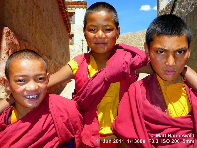 people; street portrait; triple portrait; young Tibetan monks; Tibetan Buddhism; Ladakh; Northern India; old Tibetan monk; young Tibetan monk; matt hahnewald photography; facing the world