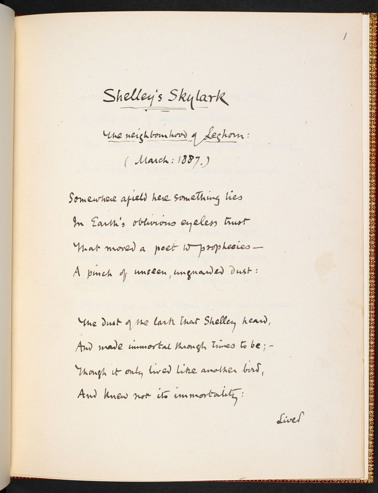 essay on to a skylark by percy bysshe shelley