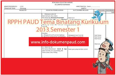 rpph kurikulum 2013 tema binatang | Info Dokumen Paud
