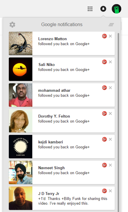 Google Plus Followers Notifications