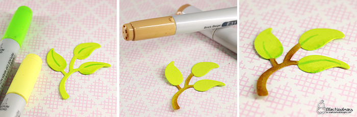 Coloring die Cut Leaves by Ellen Haxelmans   Flower Trio Die Set by Newton's Nook Designs #newtonsnook #handmade