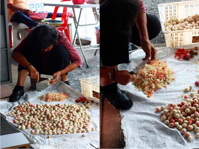 removing white mace from white nutmeg shell to prepare to make medicinal nutmeg oil