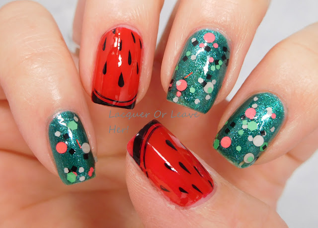 Julep Karissa and China Glaze Watermelon Rind + UberChic Beauty 9-01 + Liquid Lacquer Watermelon