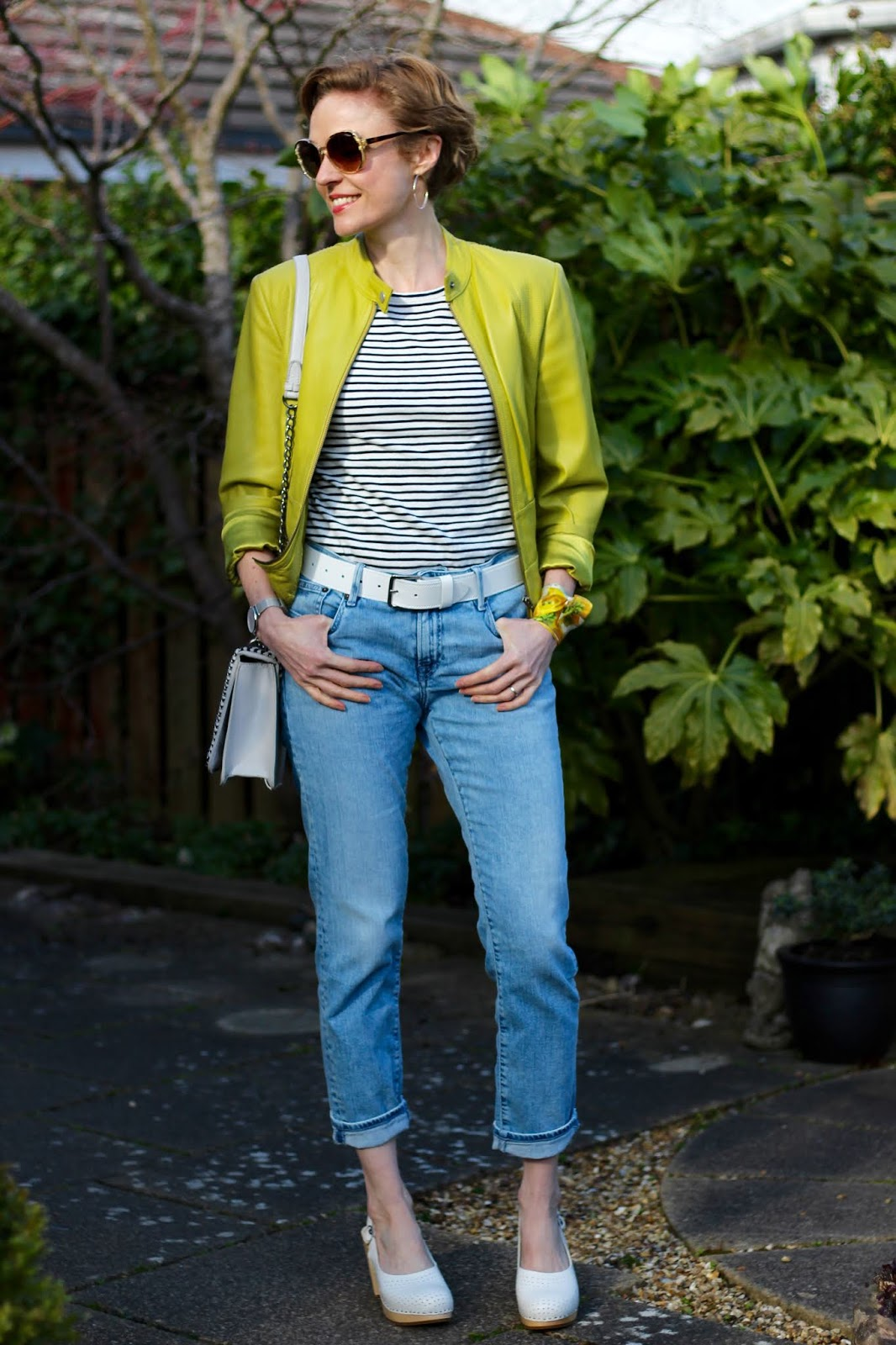 Light wash denim, lime green and white | Spring outfit | Fake Fabulous