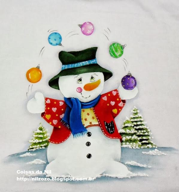 pintura em tecido boneco de neve fazendo malabares com bolas de natal