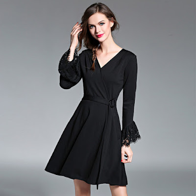 women long sleeves black casual formal dress