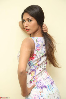 Nishi Ganda stunning cute in Flower Print short dress at Tick Tack Movie Press Meet March 2017 025.JPG