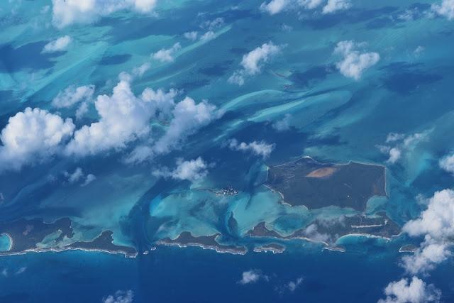 Vista aérea de las Islas Bahamas.