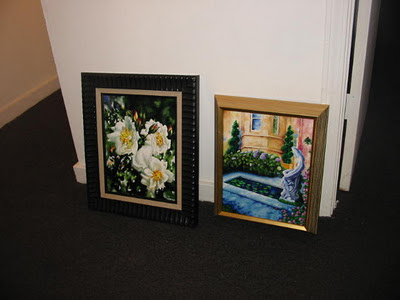 acrylic paintings, white roses, artistjillian, jillian crider, traveling art show, Tuscan Garden, fishpond, nude statue, framed art,