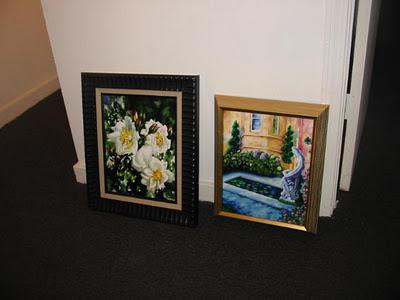 acrylic paintings, white roses, artistjillian, jillian crider, traveling art show, Tuscan Garden, fishpond, nude statue, framed art,